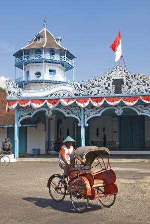 solo: becak cyclo taxi in solo city java indonesia Editorial