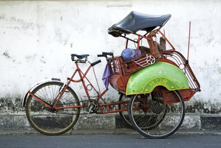 yogyakarta: becak cyclo taxi in yogyakarta java indonesia Editorial