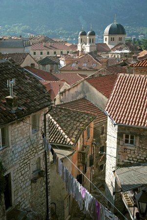view of kotor town rooftops in montenegro photo