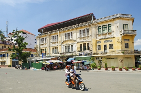 phnom: french colonial building in phnom penh cambodia
