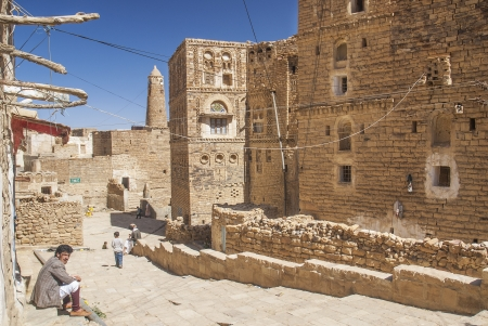 shibam village street in yemen