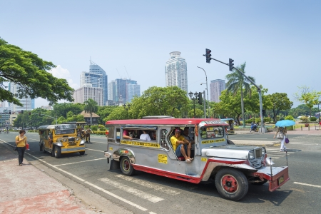 manila: jeepneys in rizal park of manila philippines
