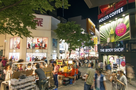 myeongdong shopping street in seoul south korea at night