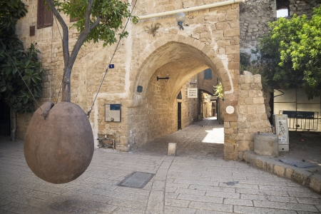 yafo: monument in alley of jafo old town in tel aviv israel