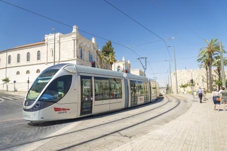 modern tram in central jerusalem in israel