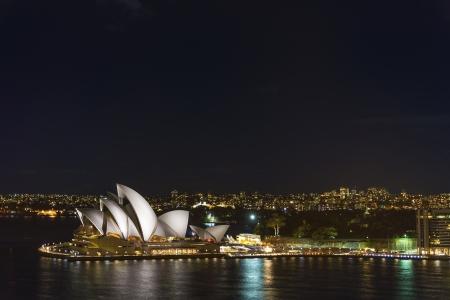 sydney opera house landmark in australia at night