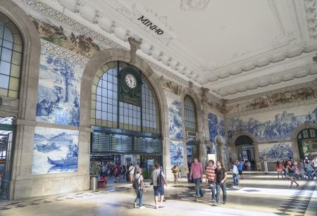 sao bento railway station interior in porto portugal