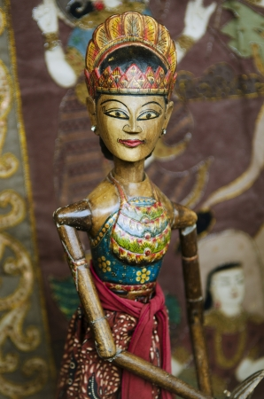 traditional wooden puppet detail in ubud bali indonesia photo