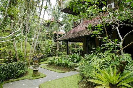 ubud: tropical garden in ubud bali indonesia resort Stock Photo