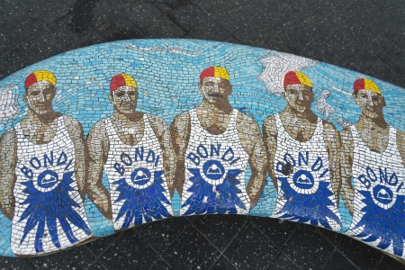 lifeguards mosaic bench detail in bondi beach sydney australia