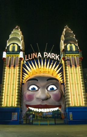 luna park entrance gate in sydney australia