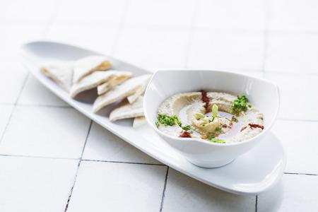 middle eastern: hummus houmous middle eastern vegetarian veggie healthy snack food Stock Photo
