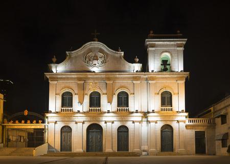 lazarus: st lazarus portuguese colonial church in macau china at night