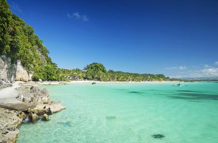 boracay: boracay island philippines tropical diniwid beach view towards mainland