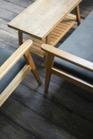 furniture detail: interior design detail of retro cool wood furniture