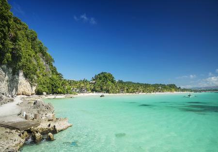 boracay: diniwid tropical beach in boracay island philippines view towards mainland