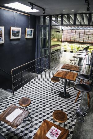interiors: trendy hipster retro style restaurant interior design Editorial