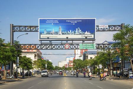 penh: airport road in central phnom penh city cambodia Editorial
