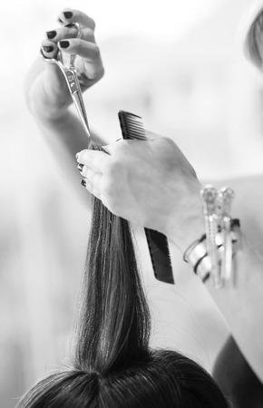 cutting hair: hairstylist cutting hair of female customer detail