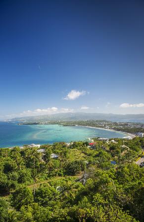 boracay: tropical coast view towards bolabog beach boracay island in philippines