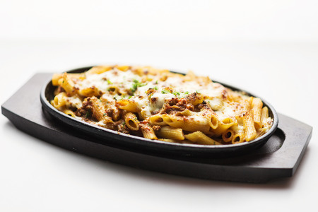 bolognaise: baked penne pasta with beef bolognaise and cheese