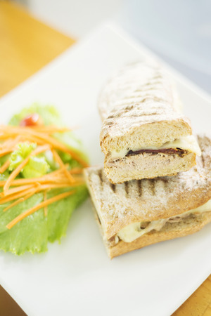 sundried: cheese tuna and sundried tomato toasted baguette with salad