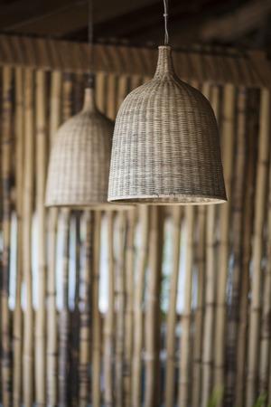 lampshade: straw lampshade and bamboo tropical exotic  interior design