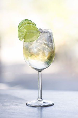 white port and tonic portuguese cocktail Stock Photo