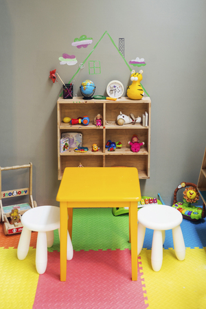 children play area: children play area and toys at home Editorial