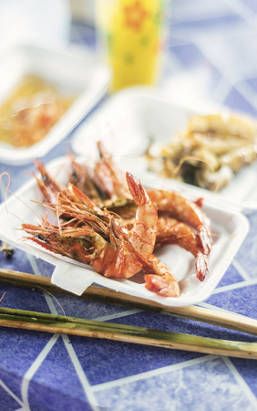 king street: asian king prawns in kep cambodia street stall restaurant Stock Photo