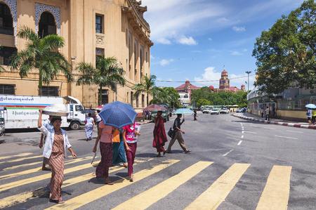 streetscene: street crossing in central yangon myanmar