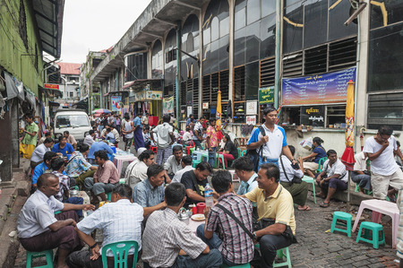 central market: street cafe in yangon myanmar central market Editorial