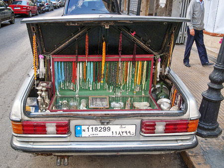 beirut: souvenir trinket vendor car boot stall in beirut lebanon