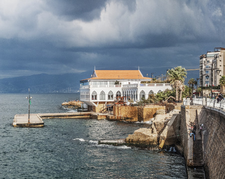 lebanon beach: corniche on coast of central beirut lebanon