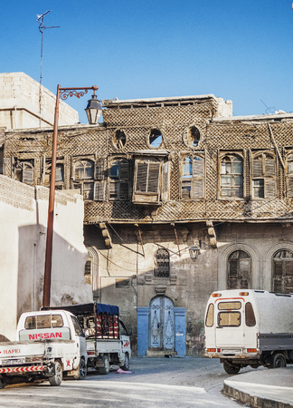 damascus: ruined traditional wooden house in central damascus syria