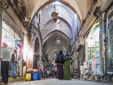bazaar: bazaar souk market interior in central aleppo city syria