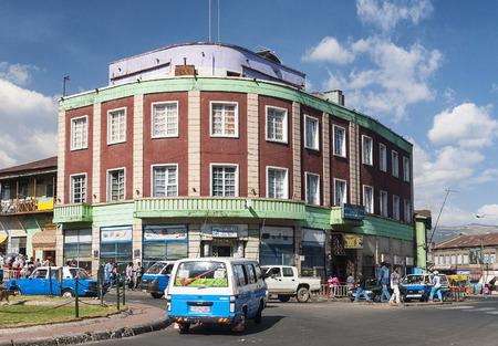 addis: retro vintage buildings in street of central addis ababa ethiopia