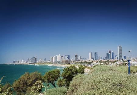 tel: central tel aviv coast skyline and beach in israel