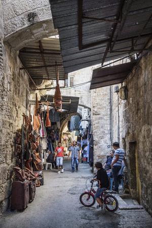 palestinian: palestinian pedestrian souk street shops in jerusalem old town israel
