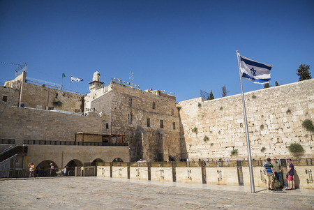 old flag: the western wall wailing wall landmark complex in jerusalem israel Editorial