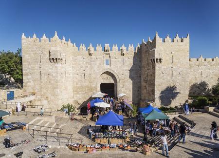 damascus: historical landmark damascus gate in jerusalem old town israel