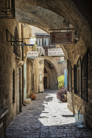 cobbled street in yafo jaffa old town area of tel aviv israel