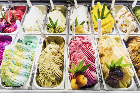 classic italian gourmet gelato gelatto ice cream display in shop