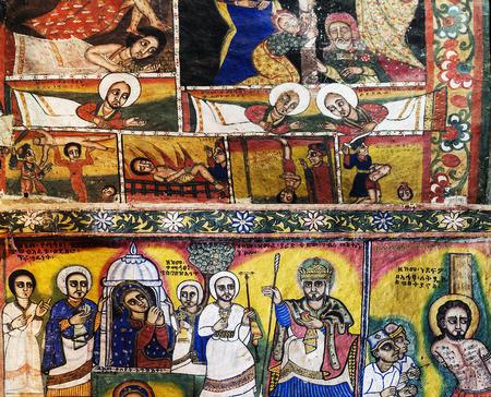 naif: ancient  ethiopian orthodox church interior painted walls in gondar ethiopia