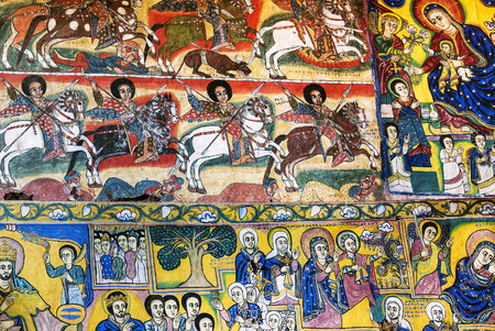naif: ancient  ethiopian orthodox church interior painted walls in gondar ethiopia