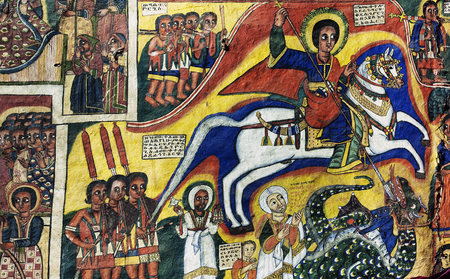 church interior: ancient  ethiopian orthodox church interior painted walls in gondar ethiopia