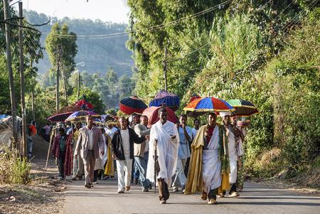 procession: african christian ethiopian orthodox funeral procession in gondar rural ethiopia