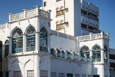 arabic architecture: traditional arabic architecture detail in muscat old town oman