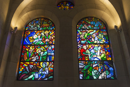 stained glass windows: manila cathedral interior christian stained glass windows detail in philippines Editorial