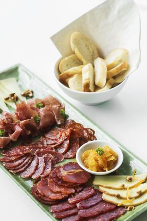 serrano: spanish serrano ham chorizo sausage and cheese tapas traditional  snacks platter